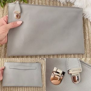 Prada Saffiano Leather Push Lock Clutch